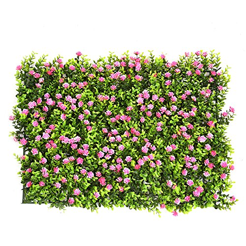 Artificial Hedge with Flowers Faux Greenery Privacy Screens Green Hedge Backdrop Plastic Garden Fake Fence Mat Panel Trellis Wall Decoration by Yunhigh Yunhigh-123
