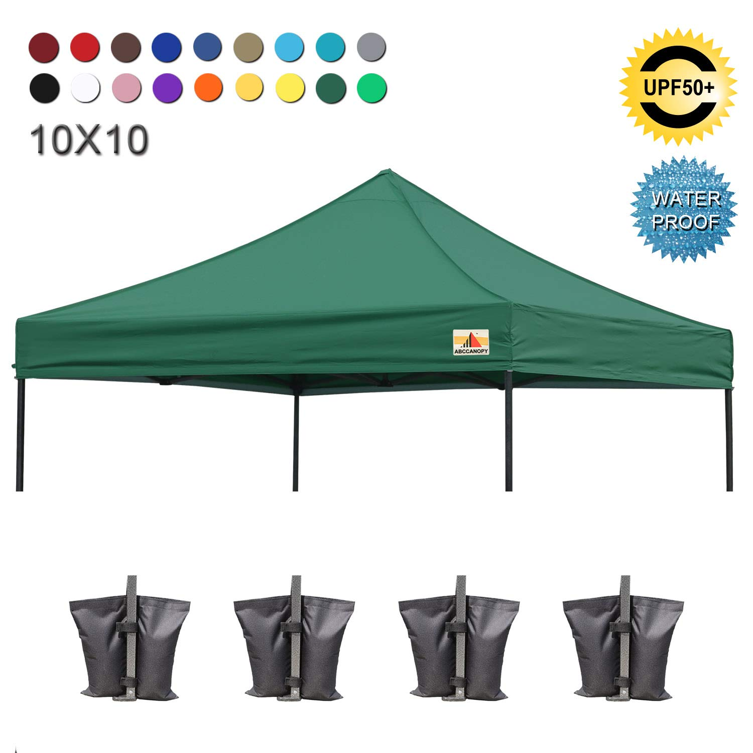 ABCCANOPY Replacement Top Cover 100 Waterproof 18 Colors 10×10 Pop Up Canopy Tent Top, Bonus 4 x Weight Bags Forest Green