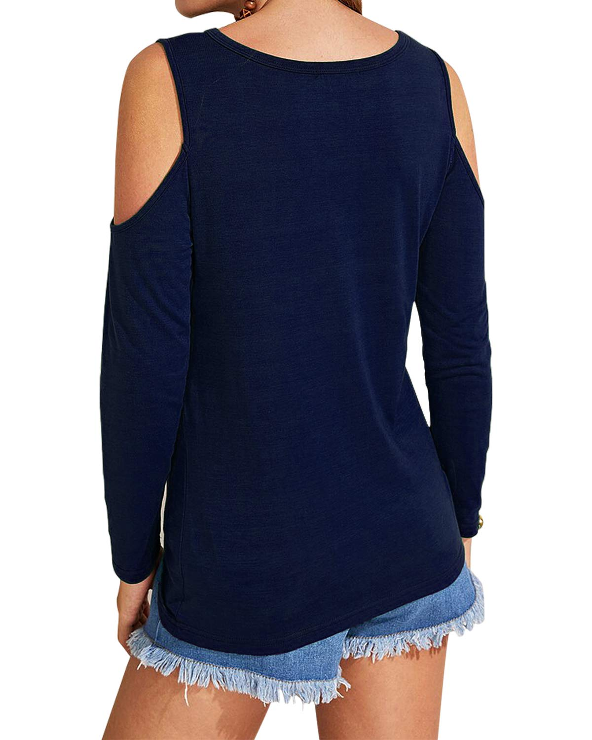 Eanklosco Women's Long Sleeve Cold Shoulder Cut Out T Shirts Casual Knot Tunic Tops (Navy Blue, L)