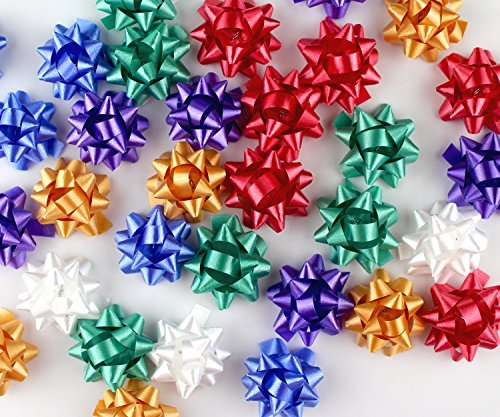 Mini Metallic Confetti Bows, 1″ Gift Wrap Bows for Christmas, Holidays and Birthdays by Emerald Craft & Hobby (120, Assorted)
