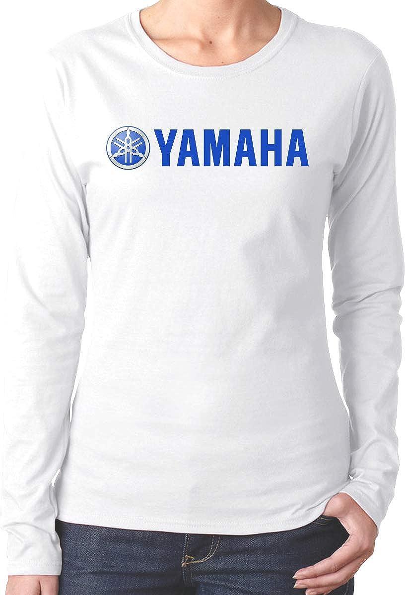 ANNAOSU New Personalized Yamaha-Logo Fashion Funny Long T-Shirt Round Collar for Womens Black