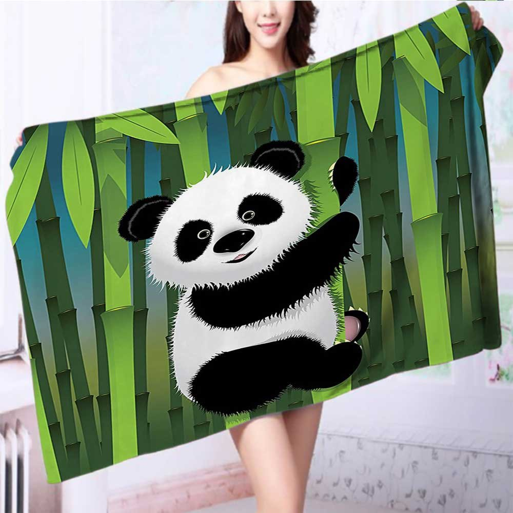 also easy Luxury Plush Bath Towel Curious Baby Panda on Stem of the Bamboo Bear Wood Design High Absorbency L55.1 x W27.5 INCH