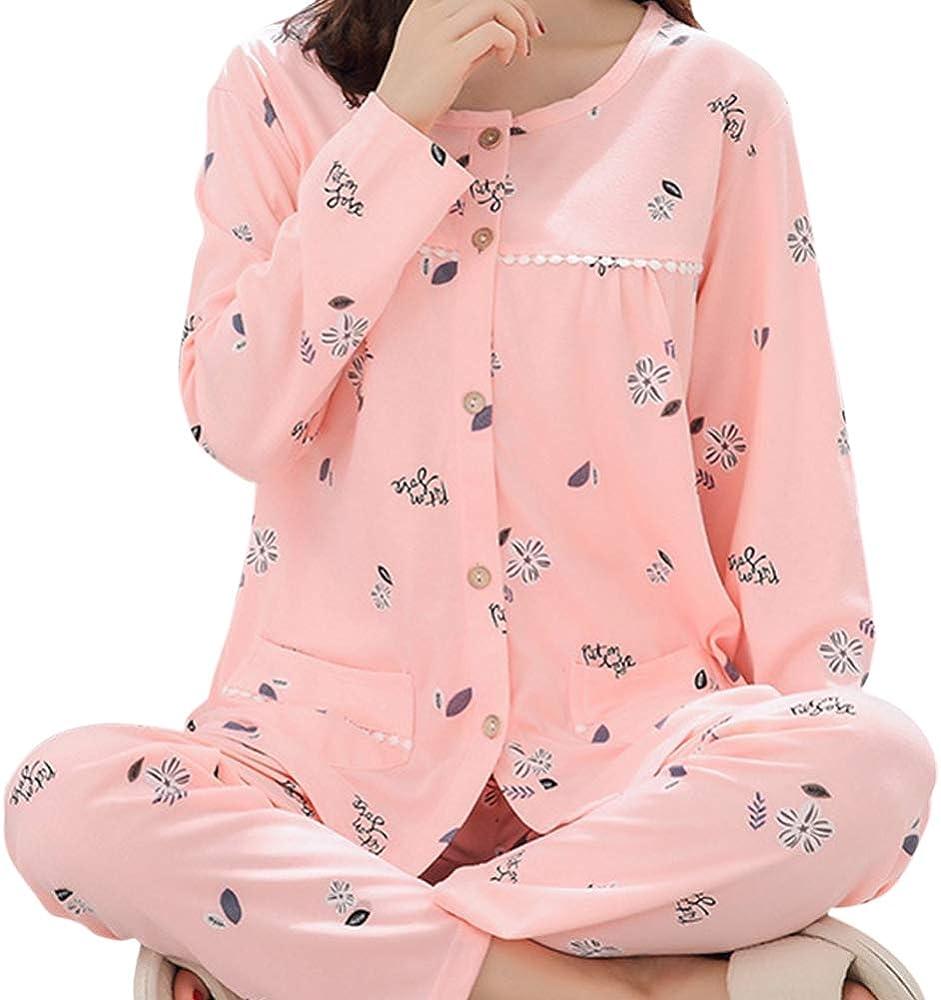 Conjunto de Pijama de algodón para Mujer, Manga Larga, camisón ...