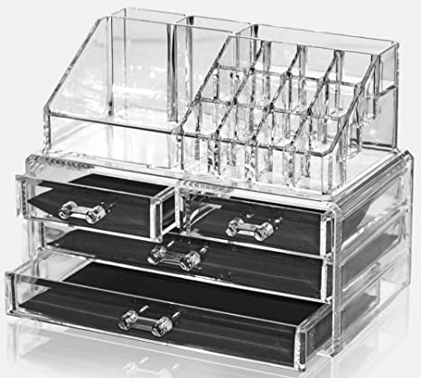 kitechild Organizador para cosméticos acrílico | Caja para maquillaje y joyas, joyero | cajones caja