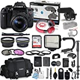 Canon EOS Rebel T6i DSLR Camera Bundle with Canon 18-55mm f/3.5-5.6 is STM Lens + Professional Video Accessory Bundle Includes ECKO Headphones, Microphone, LED Video Light and More. (27 Items)