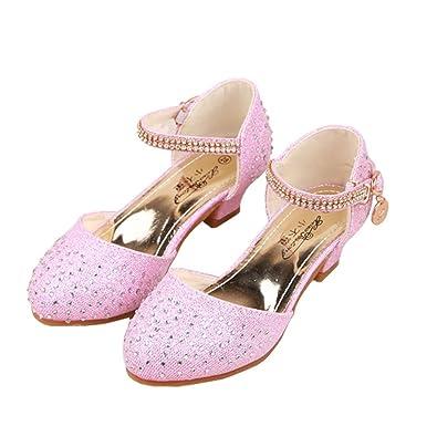 bfdfee44456 Wangwang Kids Girls Princess Glitter Crystal High Heels Sandal Shoes for  Children
