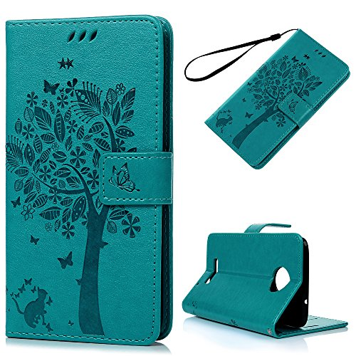Moto Z Case Wallet, KASOS Embossed Lovely Tree Butterfly Cat Durable PU Leather Wallet Case with Kickstand Card Slots Magnetic Front Closure Soft TPU Inner Shell Hand Strap Bumper Cover - Blue