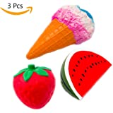 Squishies Prime Strawberrys Ice Cream Water Melon 3 Pack Squishys for Boys and Girls - Slow rising Scented Fruit Toys Cheap Jumbo Squishy Stress Toy Giant Strawberry Squashies Big & Huge UK Squidgys Free Delivery Large Food squeeze squishey