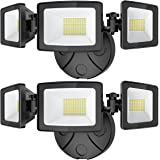 Onforu 2 Pack 50W LED Flood Light Outdoor, 5000LM LED Security Light Fixture with 3 Adjustable Heads, IP65 Waterproof, 5000K