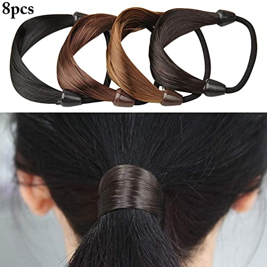 70044a7072c Amazon.com: Zoylink 8PCS Ponytail Holder Fake Hair Rope for Women Girls:  Clothing