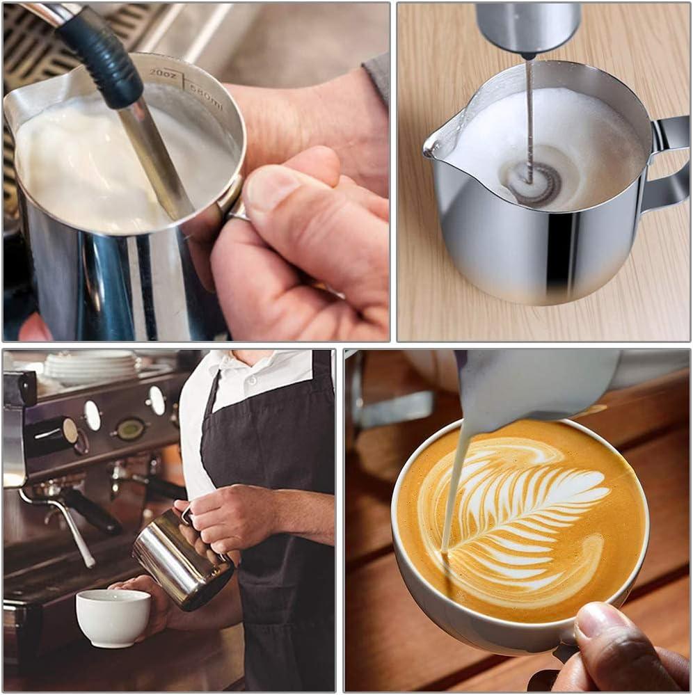 Milch Aufsch/äumen f/ür Cappuccino und Latt/é Aiooy Milk Jug,Milchk/ännchen Silber Milchkanne aus Edelstahl Milk Pitcher 600ml//20 oz