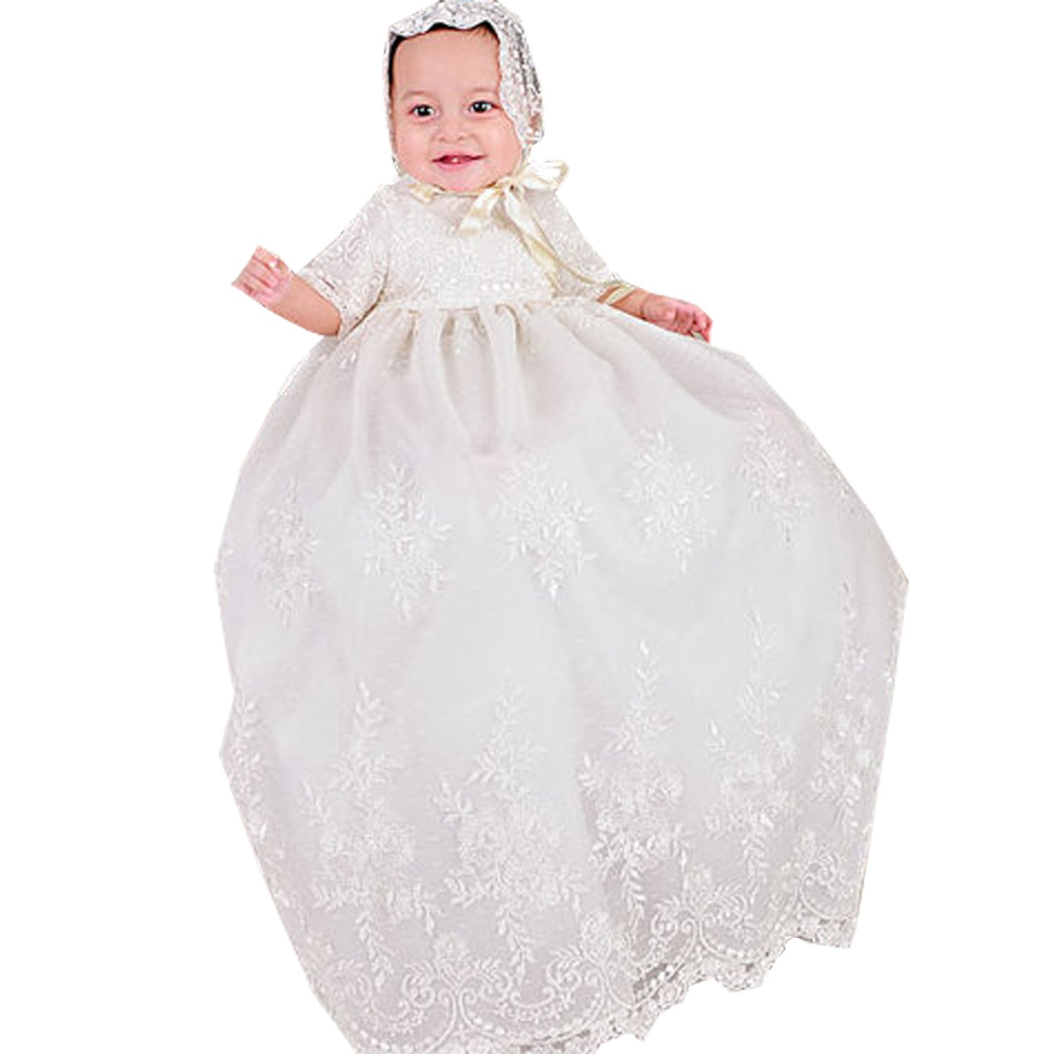 Newdeve Long Ivory Lace Infant Baptism Gown with Short Sleeve (6-9 months)