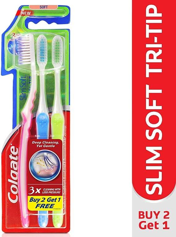 Colgate Slim Soft Tri-Tip Toothbrush (Buy 2 Get 1 Free) Manual Toothbrushes at amazon