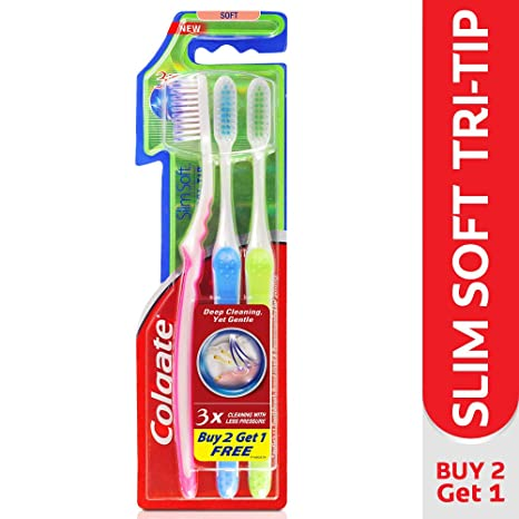 Colgate Slim Soft Tri-Tip Toothbrush (Buy 2 Get 1 Free) Manual Toothbrushes at amazon