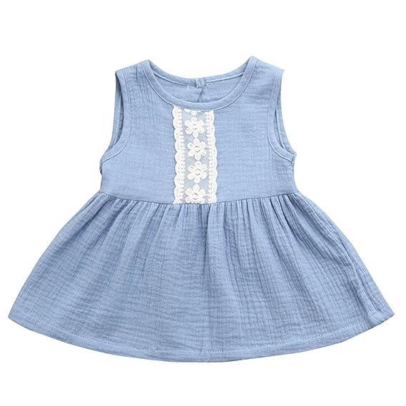 Vestido Para Bebé NiñAs DRESS Start® Vestido Liso Encaje Sin Mangas De Cuello Redondo Vestido