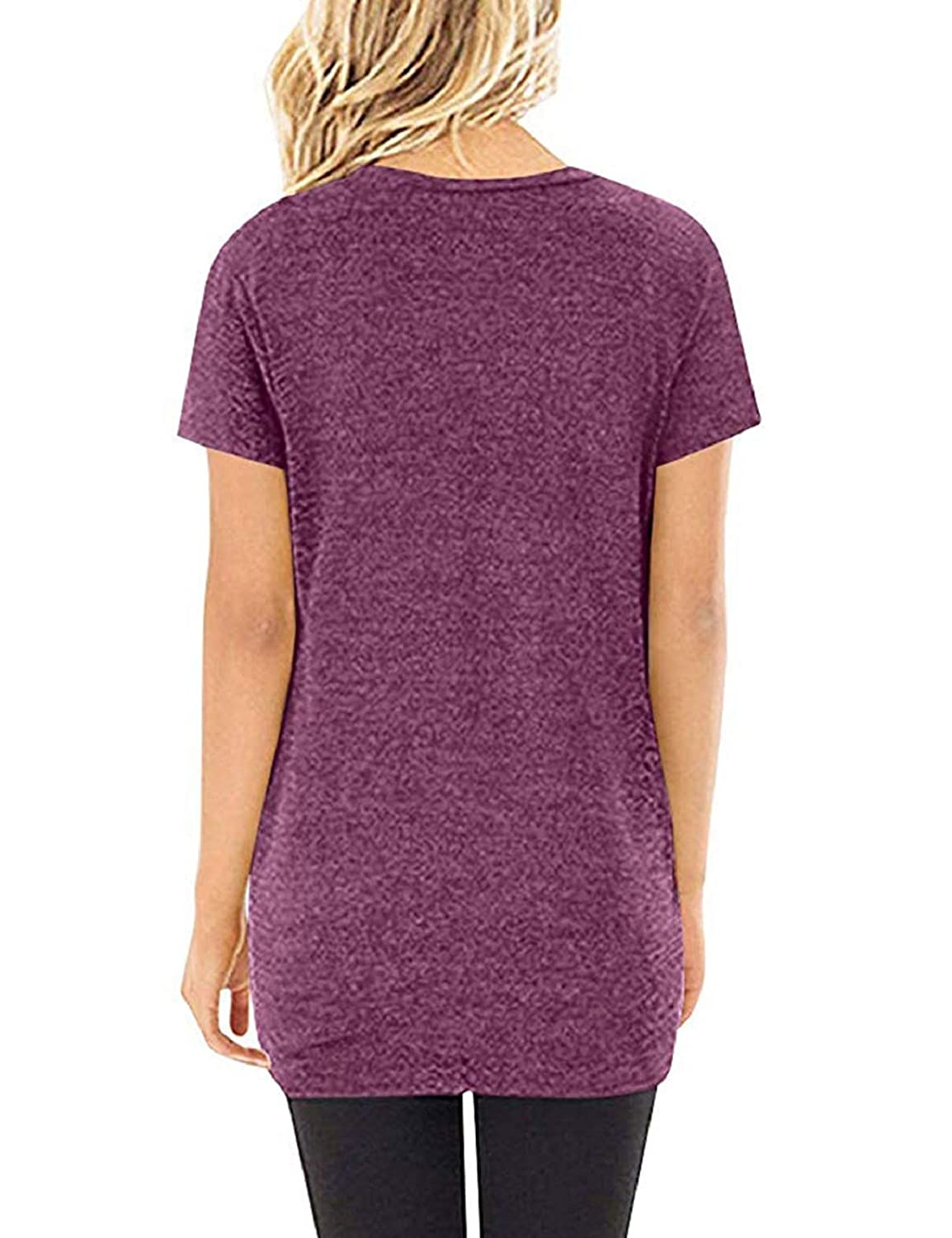 Womens Loose Casual Knot Twisted Tops Tunic Blouse Solid Color Short Sleeve T Shirts