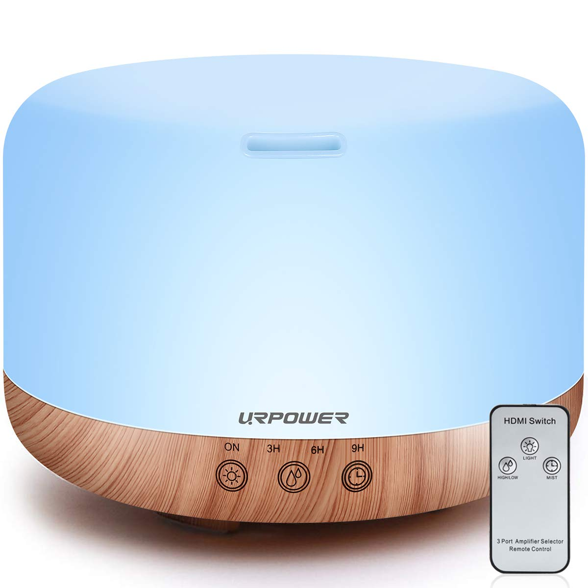 URPOWER 1000ml Essential Oil Diffuser Humidifiers Remote Control Ultrasonic Aromatherapy Diffusers Room Decor Running 20 Hours with Adjustable Mist Mode,Water-less Auto Shut-Off & 7 Color LED Lights by URPOWER
