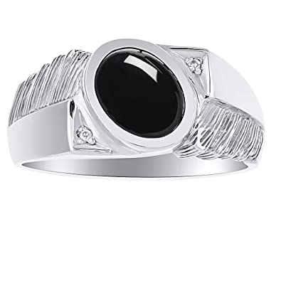 2a363b3707d6a Mens Black Onyx & Diamond Ring 14K White Gold|Amazon.com