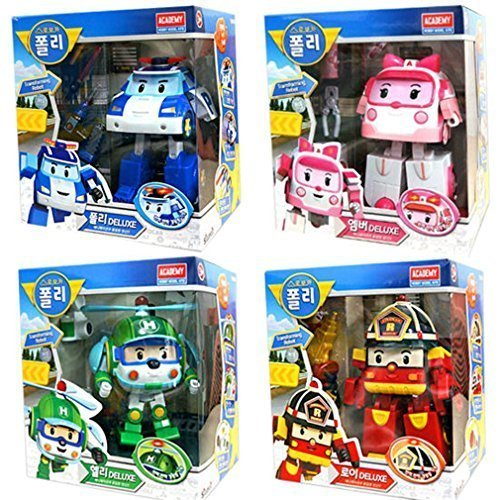 Robocar Poli Deluxe Transformer Toys Academy Robot Action Figures Korean Animation Kids Gift Set 4Pcs by Academy - First Delivery Class Time Usps