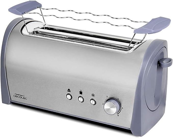 Cecotec Tostadora Acero Steel&Toast 2L. 6 Niveles de Potencia, Capacidad para 4 Tostadas, 3 Funciones (Tostar, Recalentar, Descongelar), Incluye Soporte Panecillos, con Bandeja Recogemigas, 1400 W: Amazon.es: Hogar