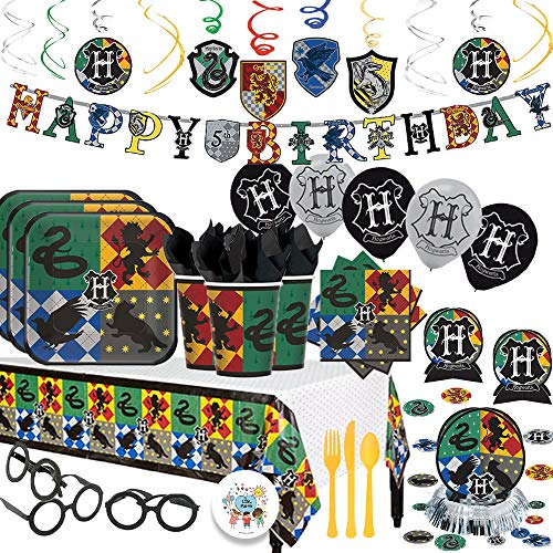 (Harry Potter Magical Wizard Birthday Party Supplies Pack With Decorations For 16 Guests With Plates, Cups, Napkins, Tablecover, Birthday Banner, Balloons, Cutlery, and Wizard Glasses Plus Birthday)