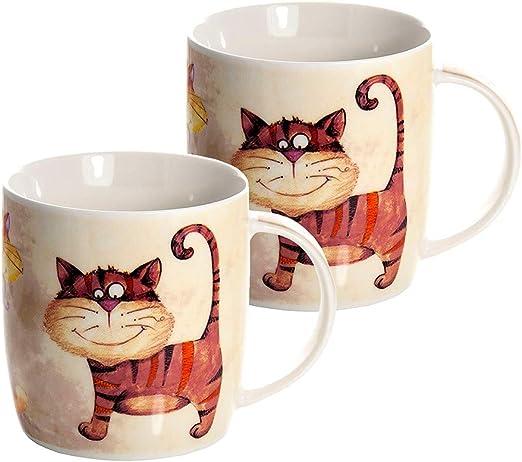Juego de 2 Tazas Porcelana Grandes Cafe Desayuno Originales de ...