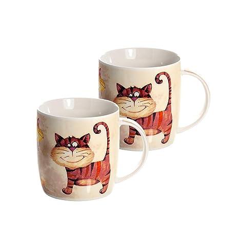 Juego de 2 Tazas Porcelana Grandes Cafe Desayuno Originales de café té, Color Beige con