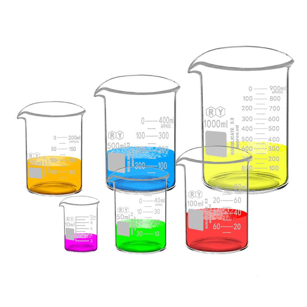 Glass Beakers Set Borosilicate Graduated Measuring Low Form Beaker 6 Sizes 10ml 50ml 100ml 250ml 500ml 1000ml