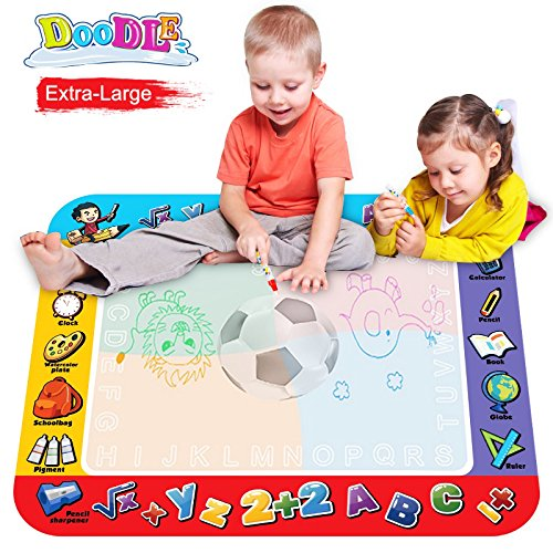 Premium Water Doodle Pad, Magic 3D Football Drawing Mat, 4 Colored Mat + 2 Magic Pen+ 2 Cartoon Seal for Paining, Writing, Educational Toys for Children No Mess Coloring for Gifts Doodle Balls