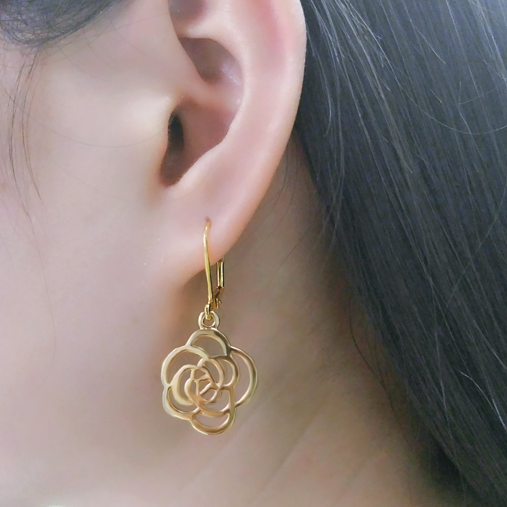 Women Silver/Gold Rose Flower Dangle Leverback Drop Earrings Mother's Day Mom Gifts