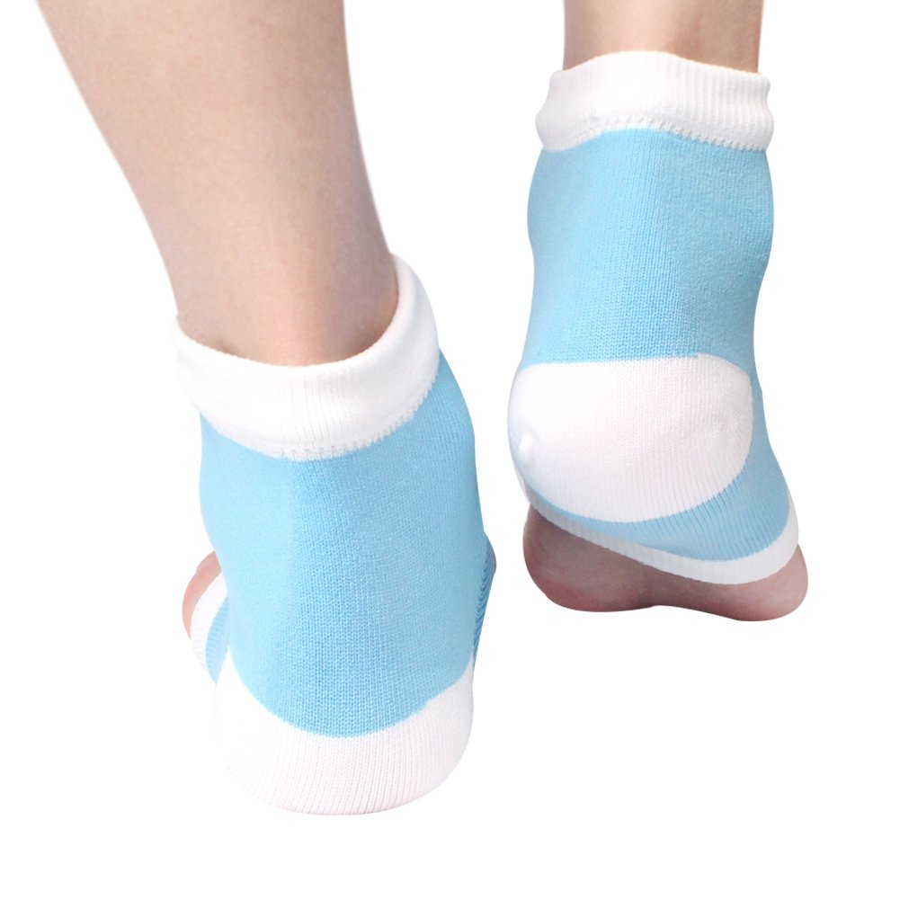 Gel Heel Socks For Men and Women - Open Toe Soft Moisturizing Silicon Sock for Dry Cracked Feet and Pain Relief (Blue)