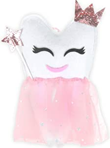 Tooth Fairy Pillows for Girls | Princess Tooth Fairy Pillow for Girls with Tutu and Crown | Hanging Teeth Pouch Container Keepsake | Tooth Fairy Gifts for Girls Plush
