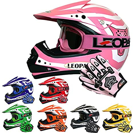 Leopard (SET DEAL LEO-X17 Children Kids CUB Motocross Motorbike Helmet + Gloves + Goggles - Red M (51-52cm) Touch Global Ltd