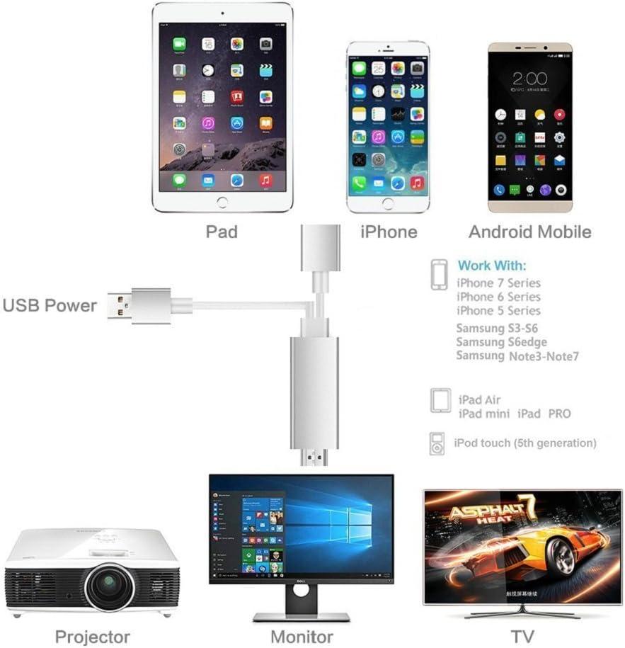 Cable HDMI para iPhone Smartphone iPad y Samsung, de Musou, cable adaptador Plug & Play para adaptador HDMI HDTV para el espejo de la pantalla en el proyector HDTV: Amazon.es: Electrónica