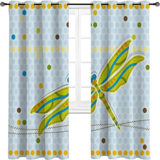 Amazon Com Kitchen Curtains Dragonfly Bedroom Curtains Window Treatment Dragonfly Figure Over Little Circular Spots And Dots Kids Cartoon For Play Room Decor 2 Grommet Top Curtain Panels 42 W X 84 L Home Kitchen