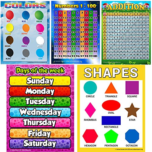 Prek Educational Posters 5 Pack NOT Laminated 17X22 Large Toddler Child Bundle with Numbers 1-100 Days of The Week Shapes Colors and Addition Chart for Kids by School Smarts.