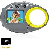 FLAGPOWER Kinderkamera, Wiederaufladbar Digital Kamera für Kinder ab 3 Jahre Tragbar Kinderkamera mit USB Kabel und 16GB Speicherkarte 4X Zoom/ 12MP HD Fotos(Blitzlicht) MEHRWEG
