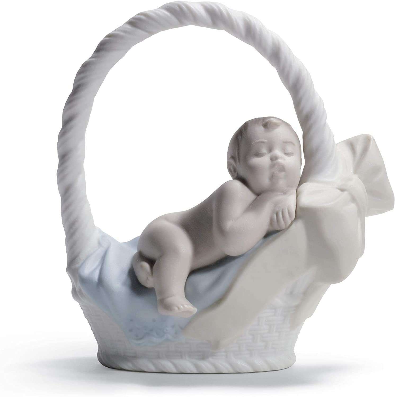 LLADRÓ Newborn Boy Figurine. Porcelain Baby Figure.