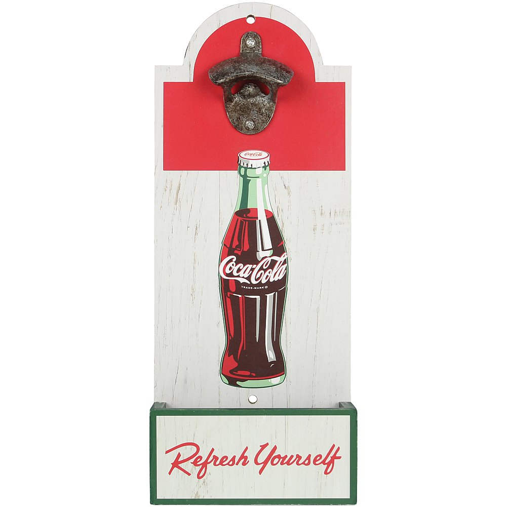 youngs Retro Coke Wood Bottle Opener - Wall Mount Coca-Cola Art w/Metal Hardware by youngs (Image #1)