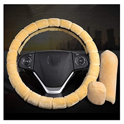Caches de volant 5pcs Universel Hiver Laine Faux Housse de volant en peluche Et la couverture de ceinture de sécurité Et couvercle de frein à main Et vitesse Maj Cover Housse de siège de voiture floue Antidérapant voiture Intérieur Accessoires auto