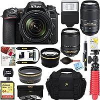 Nikon D7500 20.9MP DX-Format Digital SLR Camera (Body Only) + 64GB Deluxe Accessory Bundle (2 Lens Kit 18-140mm & 55-300mm)