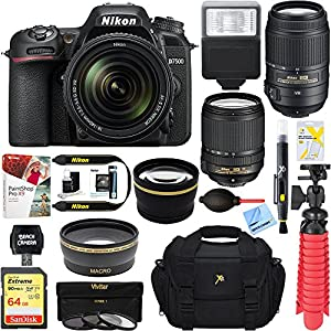 Nikon D7500 20.9MP DX-Format Digital SLR Camera + AF-S 18-140mm & 55-300mm ED VR Lens + Accessory Bundle