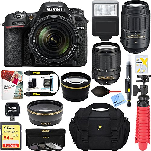 Nikon D7500 20.9MP DX-Format Digital SLR Camera (Body Only) + 64GB Deluxe Accessory Bundle (2 Lens Kit 18-140mm & 55-300mm) by Nikon