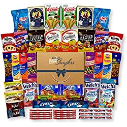 Sweet & Salty Snacks Variety Care Package Gift Box (No Fun Size, 40 Count) - College Students, Military or Work - Over 4 Pounds of Snacks!