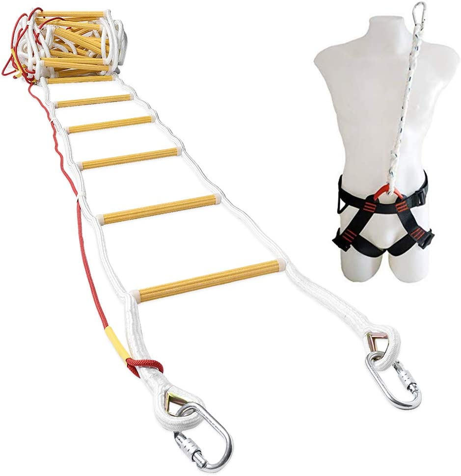 ISOP Emergency Fire Escape Rope Ladder for 3-4 Story Homes 32 ft Safety Ladders with Carabiners & Safety Harness - Patented (32ft with Harness)