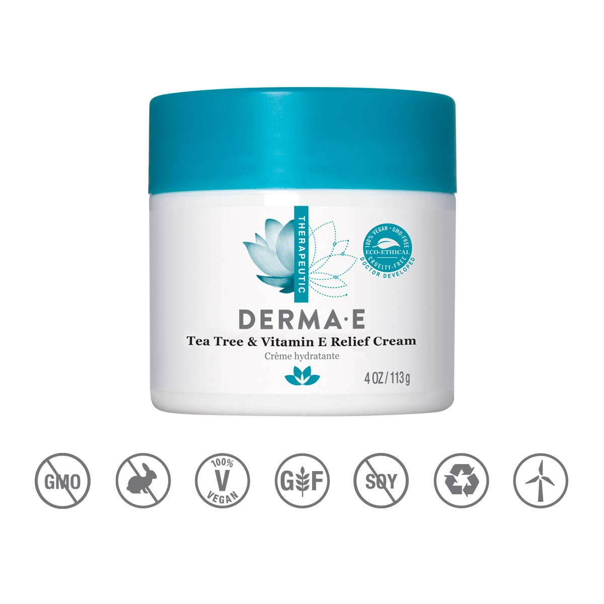 Derma E Tea Tree and Vitamin E Relief Cream, 4oz by DERMA-E