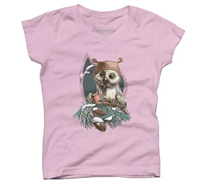 Design By Humans colorful owl Girls Youth Graphic T Shirt