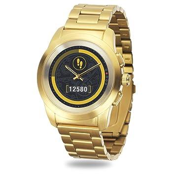 MyKronoz ZeTime Elite Reloj Inteligente híbrido 44mm con Agujas mecánicas sobre una Pantalla a Color táctil– Regular Cepillado Oro Amarillo/Metal Link