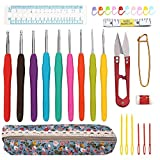 SOLEDI 31pcs Crochet Hooks Set Crochet Hooks with Grips Sewing Yarn Needles Stitch Markers Gauge Ruler Scissors Row Counter Crochet Hook Case Organizer