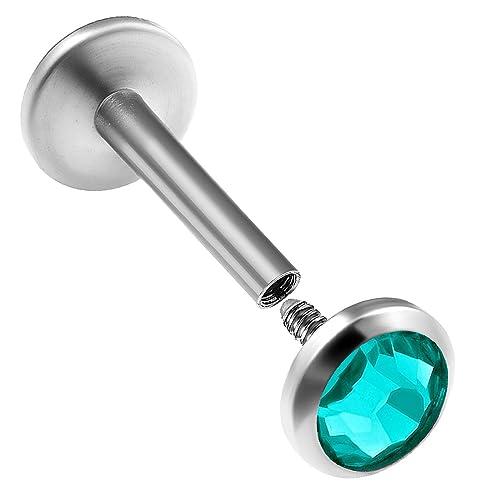 Tragus Ohr Piercing Hantel Cartilage Helix Titan eloxiert 5 Farben Stein klar